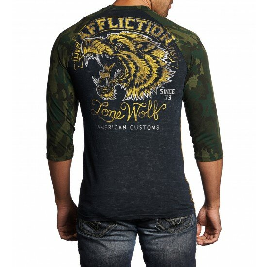AFFLICTION Shirt 3/4-Arm LONE WOLF