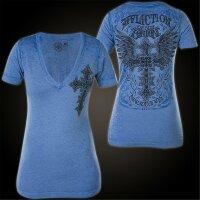AFFLICTION Damen T-Shirt Elitist in Blau S-L