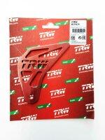 Fersenschutz rot mit TRW-Logo für TRW Fussrastenanlage