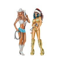 Aufkleber Cowgirl/Indian Girl LETHAL THREAT