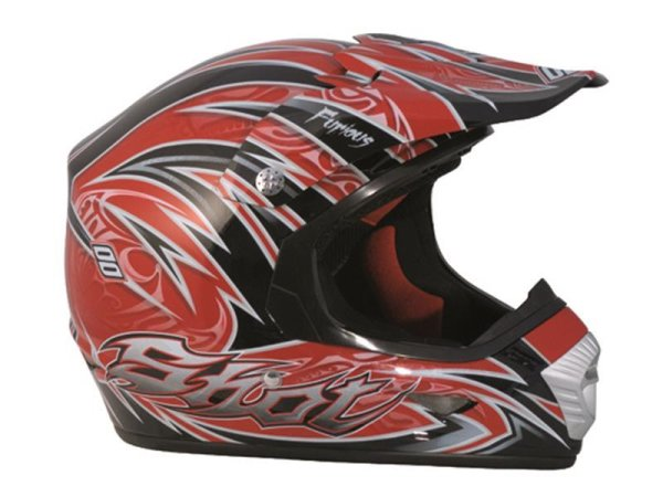 SHOT Helm FURIOUS DECO Farbe rot-schwarz-silber