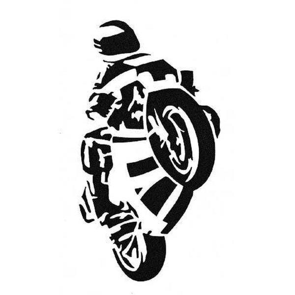 Aufkleber Rennfahrer schwarz 16 x 8,5 cm
